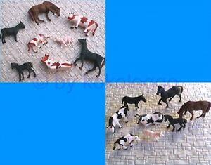 F11-F47-H0-16-Tiere-fuer-Bauernhof-Kuehe-Pferde-Esel-Schafe-1-87-Set