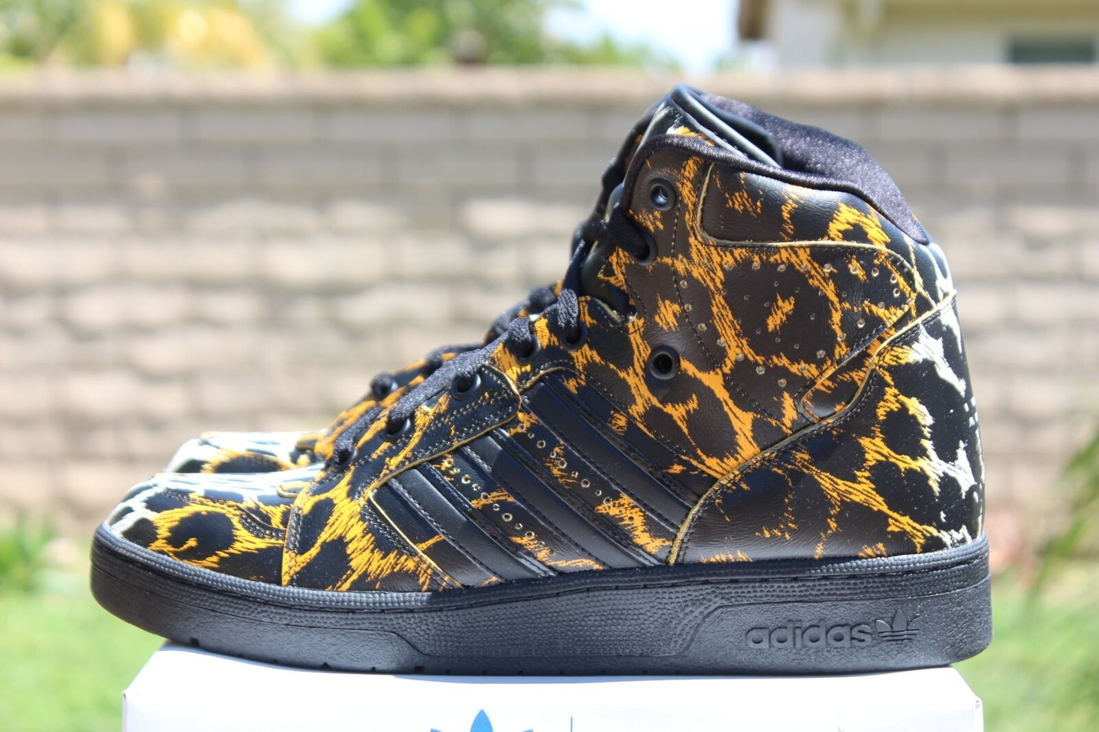 ADIDAS ObyO JS JEREMY SCOTT INSTINCT Leopardo HI tamaño 4 Negro Cheetah D65985