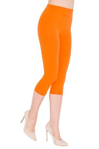 Cotton 3//4 Cropped Length Classic Plain Leggings UK Stock Plus Size 24 26 28
