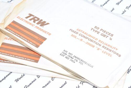 10pcs-TRW GBT 47K 5/% 1//4W MIL Carbon Composition Resistor JANRCR07G473JS