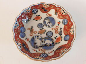 """Small Vintage Red Blue Imari Hand Painted Plate 6"""" D"""