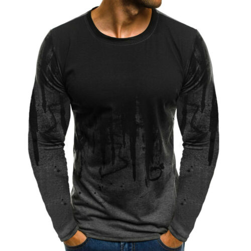 Long Sleeve T Shirt Slim Fit Casual Blouse Tops Clothing Muscle 123 Mens Short