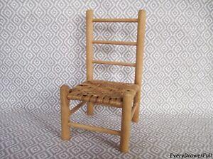Vintage Miniature Ladder Back Wooden Chair Woven Seat Ebay