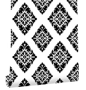 Details About Victorian Peel Stick Wallpaper Damask Black White Self Adhesive For Wall