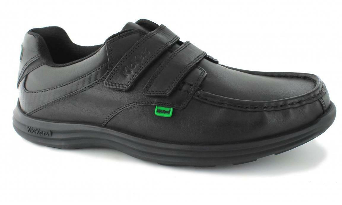 Kickers REASAN STRAP Mens Casual Comfy Soft Leather Dual Touch Close shoes Black