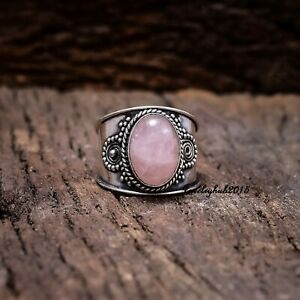 Natural Rose Quartz Gemstone 925 Sterling Silver Handcrafted women Jewelry Size 8.5 Birthday Gift
