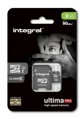8GB Micro SDHC Memory Card - Fast Class 10 UHS-I U1 90MB/s + SD Adapter.