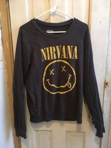 Vintage Nirvana Smiley Face T-Shirt Long Sleeve Si