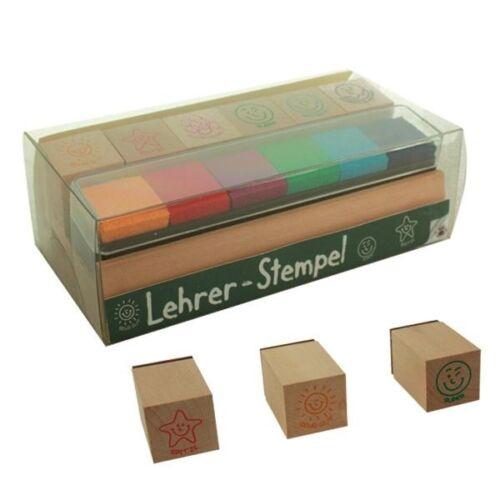 Lehrer-Stempel aus Holz 6 Stück mit 6 Stempelkissen in verschiedenen Farben