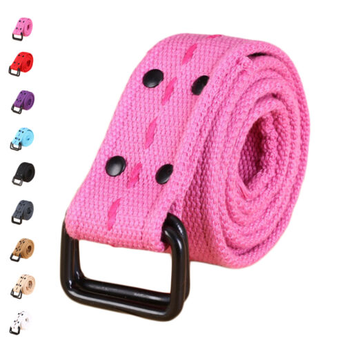 New D-ring Canvas Elastic Fabric Woven Stretch Multicolored Braided Buckle Belts