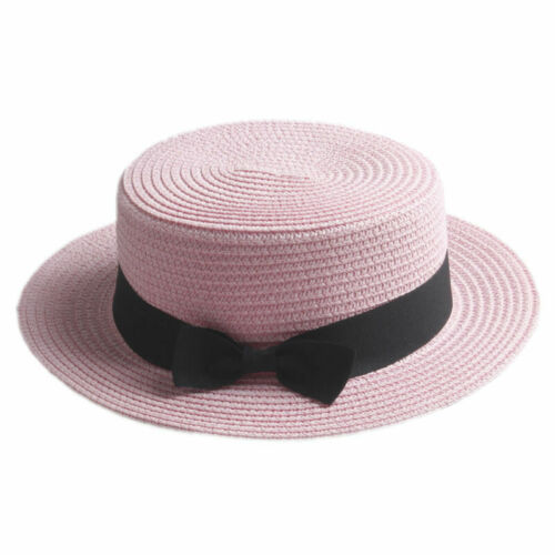 Women/'s Kids Girls Straw Bowler Boater Sun Hat Round Flat Caps Brim Summer Beach