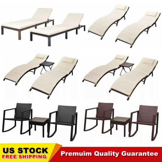 Black Rattan Patio Sun Lounger Pool Deck Sunbed Garden Recliner Chair Adjule For Online Ebay