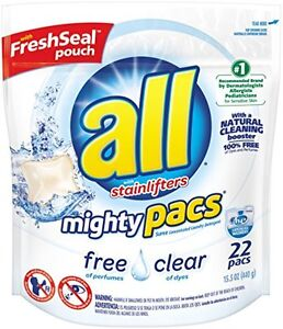 Details about ALL Mighty Pacs Free Clear HE 22 load stainlifter Sensitive  Skin MightyPack pods