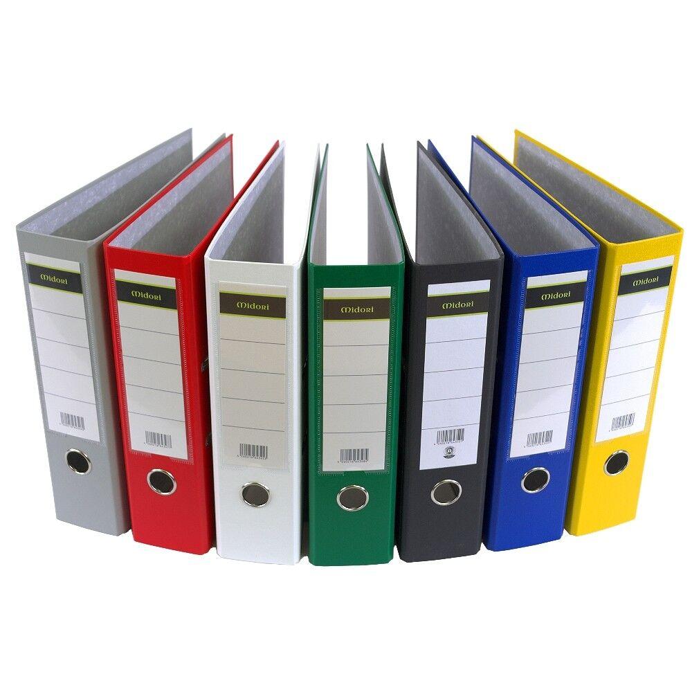 5 x Ordner A4 8cm PP Kunststoff Grau Aktenordner Briefordner Breit Büro Midori-E