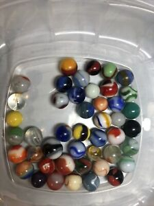 Vintage-Antique-Marbles-Lot-Peltier-Akro-Agate-CAC-Alley-Agate-Marble-King