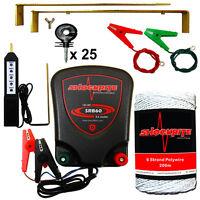 Electric Fence 12v Energiser Shockrite Srb60 200m White Wire + Tester Insulator
