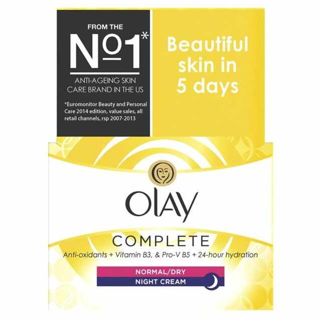 Olay 3-In-1 Night Cream Normal To Dry Moisturiser Essentials Complete Care 50ml