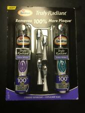 New 2 Arm & Hammer Truly Radiant Spinbrush Toothbrush & 4 Replacement Heads Soft