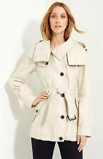 Burberry London Belted Linen Parka Size 10 US Retail $1,195 New