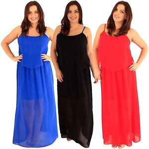 Details about Ladies Plus Size Lined Chiffon Long Maxi Dress Strappy Cami  Chiffon Maxi 12-22