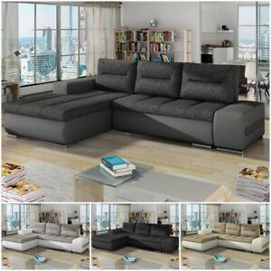 OTTO Corner Sofa Bed Storage Colours Fabric Faux Leathe ...