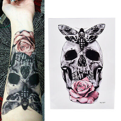 Skull With Moth And Flower Cool Tattoo Waterproof Body Tattoo Stickers y9U