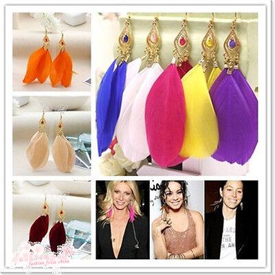 1 Pair 3Pcs Handmade Earring Goose Feathers Fashion Dangle Hook Earrings Eardrop
