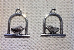 10-x-Bird-On-a-Perch-Charms-Tibetan-Silver-Tone-with-an-Antique-Finish