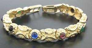NEW-14K-Yellow-Gold-7-034-Onyx-Green-Agate-Amethyst-Garnet-Textured-Tennis-Bracelet