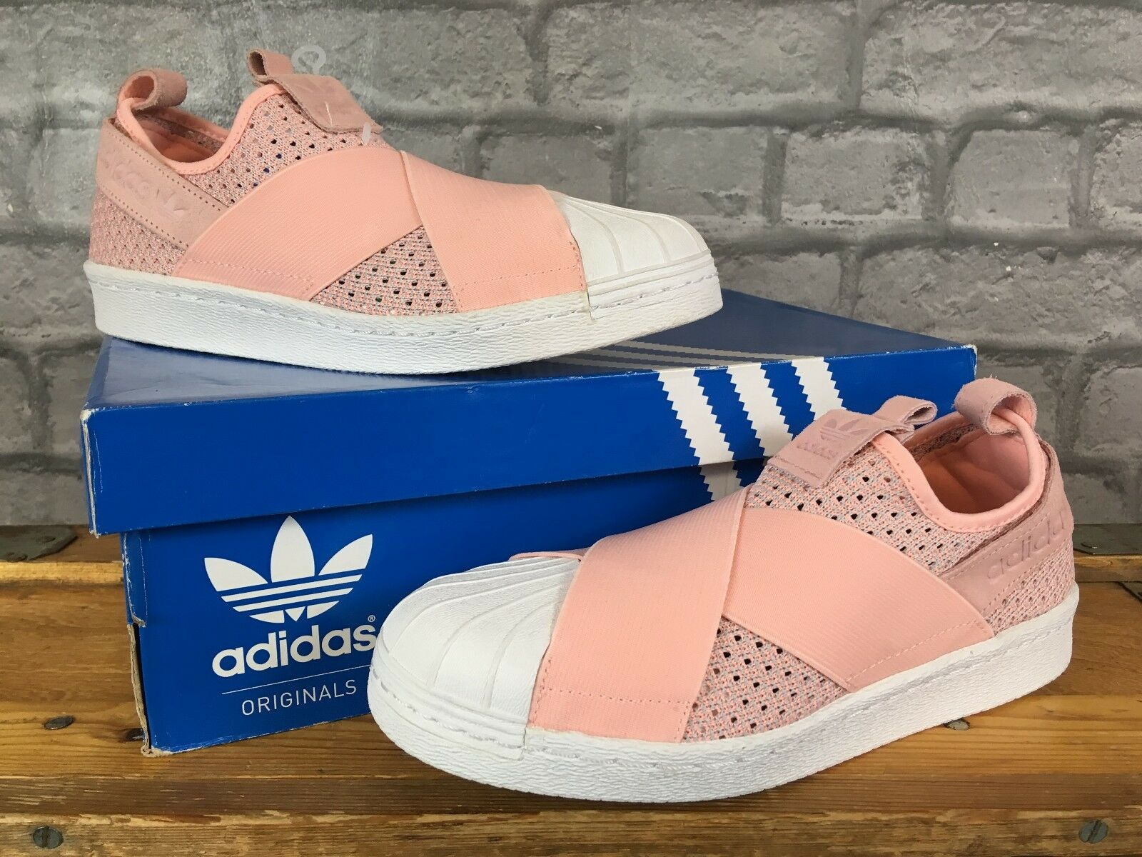 ADIDAS LADIES UK 8 EU 42 SUPERSTAR CORAL PINK PINK CORAL KNIT SLIP ON TRAINER ab816a