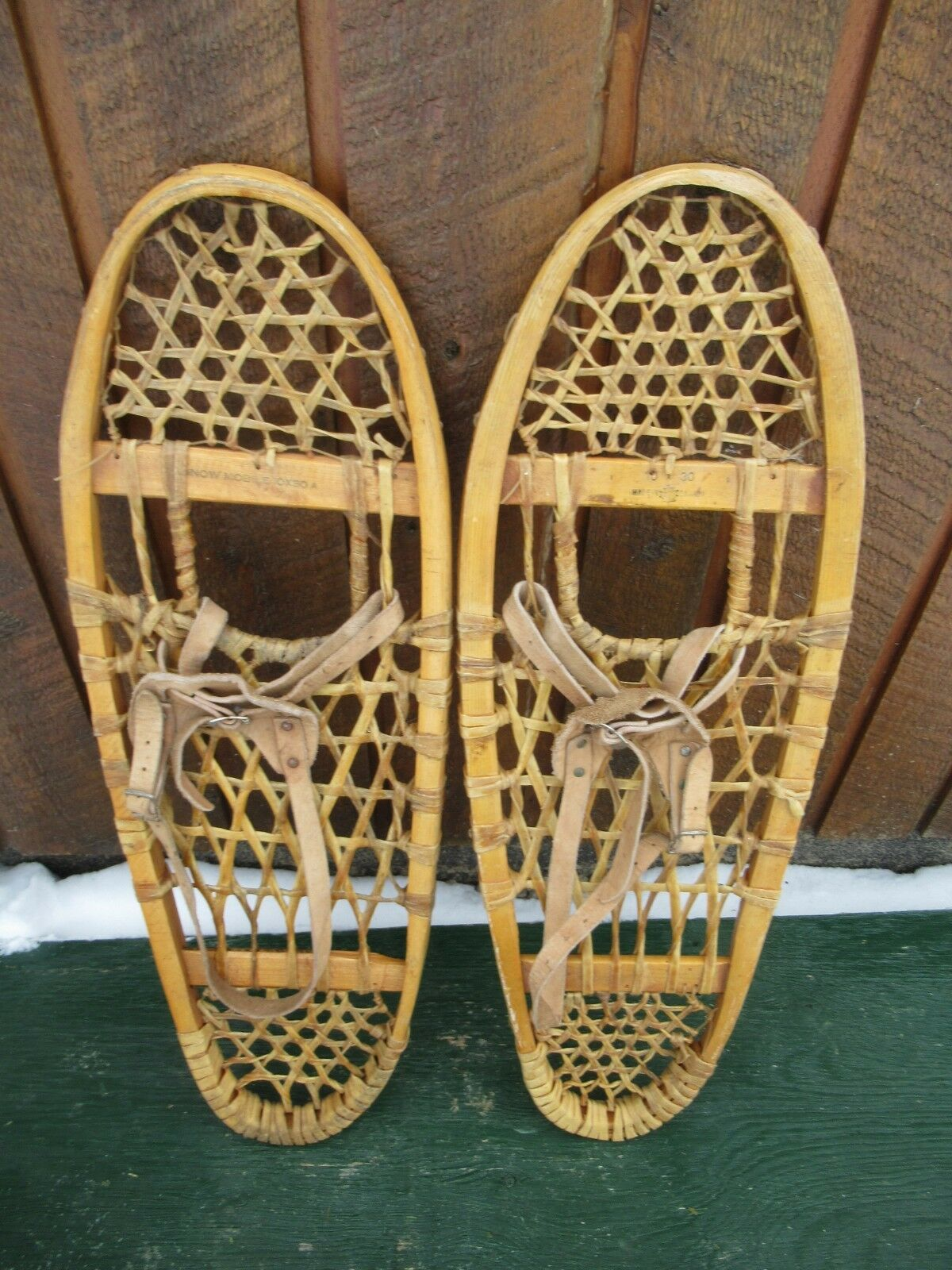 GREAT Snowshoes 30  Long x 10  Wide with Leather Binding Ready to Use