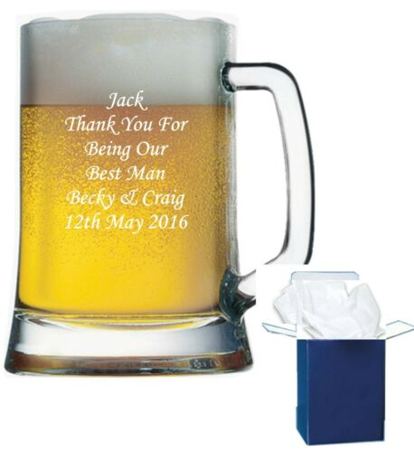 Personalised Engraved Pint Glass Tankard Wedding Gift Father Of The Groom Gift