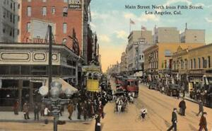 Los-Angeles-CA-Main-Street-Scene-from-Fifth-Streetcars-c1910s-Vintage-Postcard