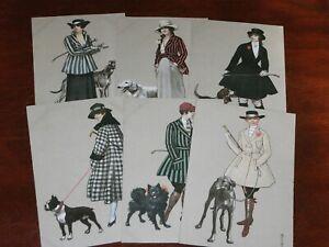 ORIGINAL-SET-OF-SIX-E-COLOMBO-SIGNED-ART-DECO-GLAMOUR-POSTCARDS-DOGS-894