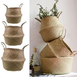 3-Tailles-Pot-De-Fleur-Decoree-Pliable-Saule-Manuel-Panier-Plante-Jardin