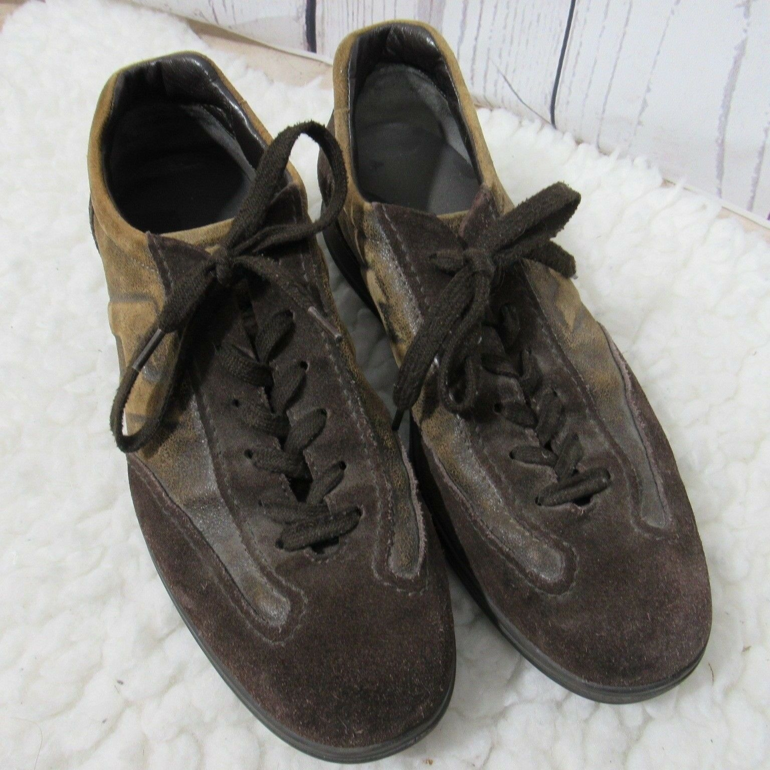 Hogan Brown Shoes Uomo 8 Brown Hogan Suede Lace Up Driving Sneaker ff2f43