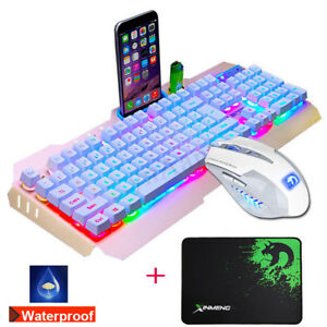 Impermeable-USB-LED-Gaming-Clavier-De-Jeu-Retroeclairage-Souris-Tapis-Set-Blanc