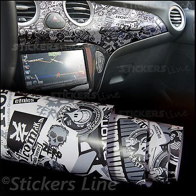 76x100cm Sticker Bomb Bianco e Nero Pellicola Adesiva Rivestimento Auto Car Wrapping