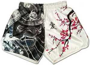 Muay-Thai-Hose-Cherry-Blossom-Samurai-MMA-Yoga-Kickboxen-Kampfsport-Boxer-Shorts