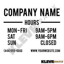 Custom Business Hours Open Closed Vinyl Window Decal Graphics Sticker