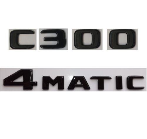 Flat-Gloss-Black-Trunk-Letters-Emblems-Badge-for-Mercedes-Benz-C300-4MATIC