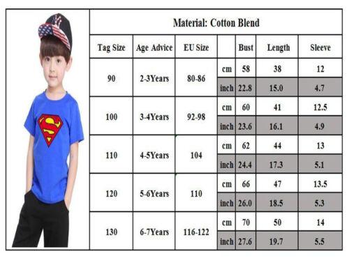 Toddler Kids Boy Superman Spiderman T-shirt Summer Short Sleeve Tops Casual Tee