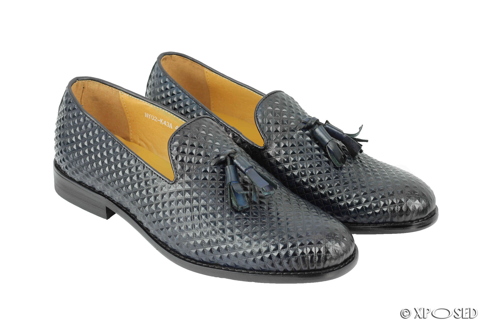 New Mens Blue Real Leather Tassel Loafers Diamond Print Retro Smart Formal Shoes