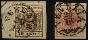 LOMBARDEI-VENETIEN 1850 -30C, 4X, FEINSTDRUCK! -15C, 3Y, Verschiedene VENEZIA