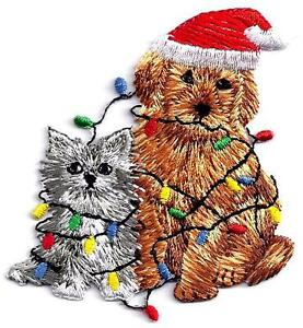 Iron on Large Christmas Cats with Lights and Santa Hat Applique Patch