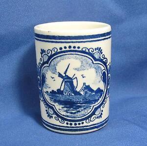Vintage-Delft-Hand-Painted-Vandermint-Shotglass-Ceramic-Toothpick-Match-Holder
