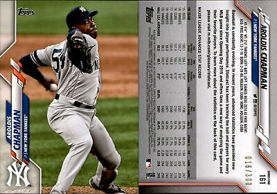 2020 Topps #161 Aroldis Chapman New York Yankees Baseball Card