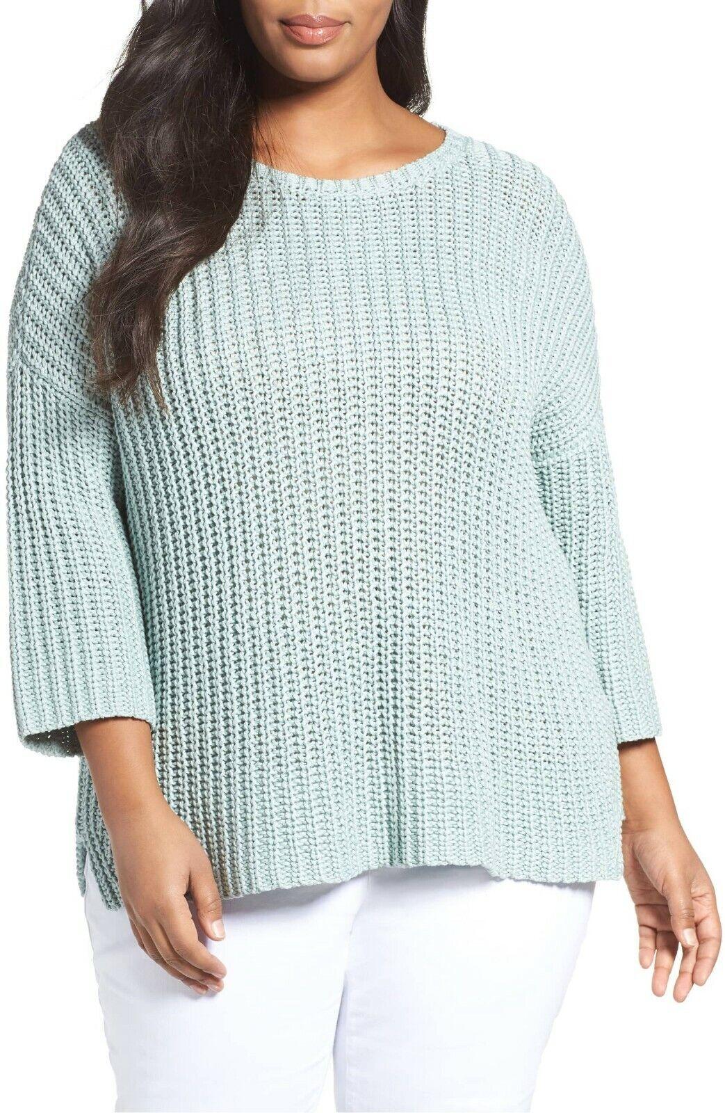 NEW Eileen Fisher Organic Cotton Tape Yarn Sweater BROOK plus size XL