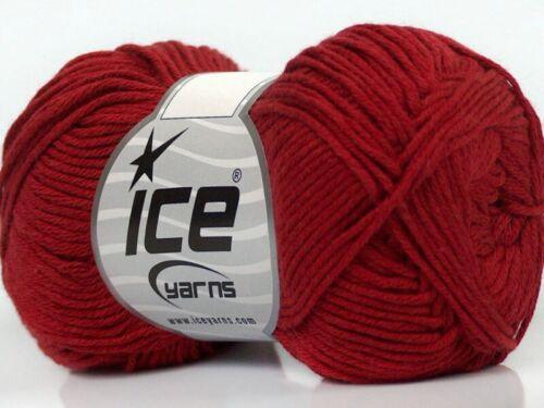 Sport Weight 50 Gram 153 Yards Dark Red Cotton Bamboo Yarn Ice #41442 Baby