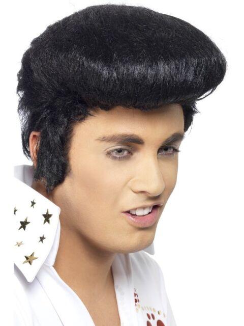 Black Elvis Deluxe Wig Adult Mens Smiffys Licensed Fancy Dress Costume
